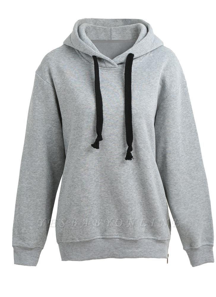 Fashion Side Zipper Hooded Neck Drawstring Long Sleeves Women's Hoodies