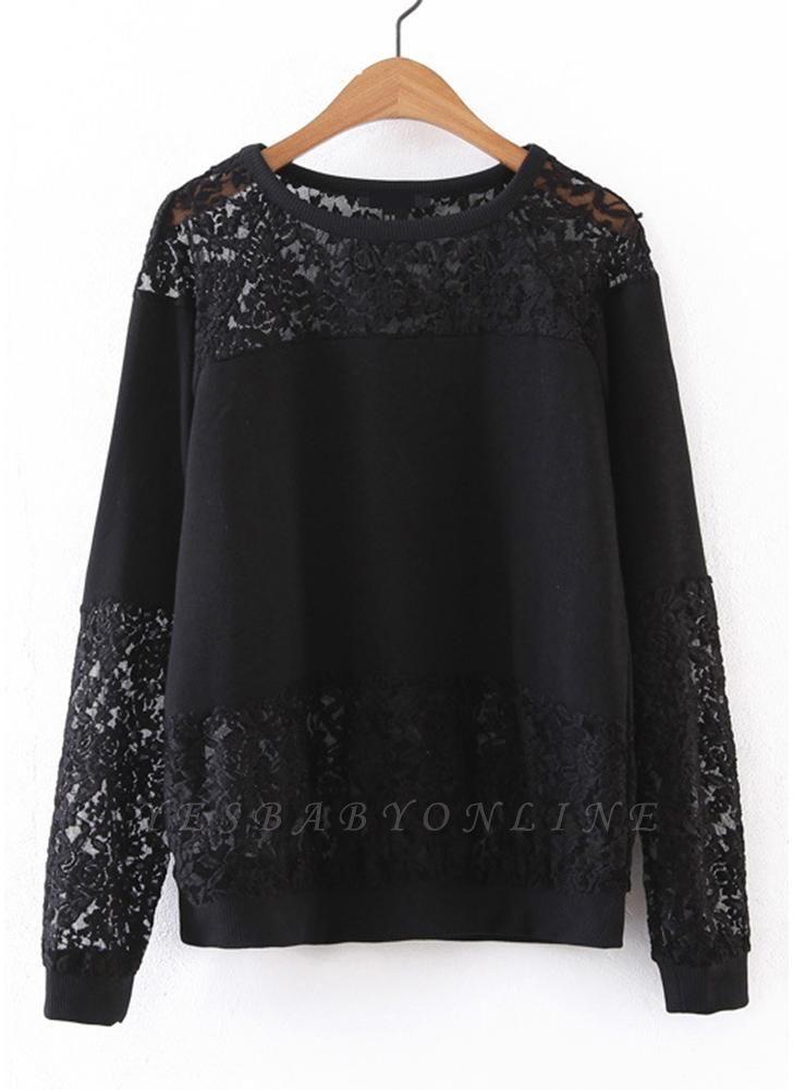 Women Sweatshirt Sheer Lace Insert Raglan Long Sleeves Loose Oversized