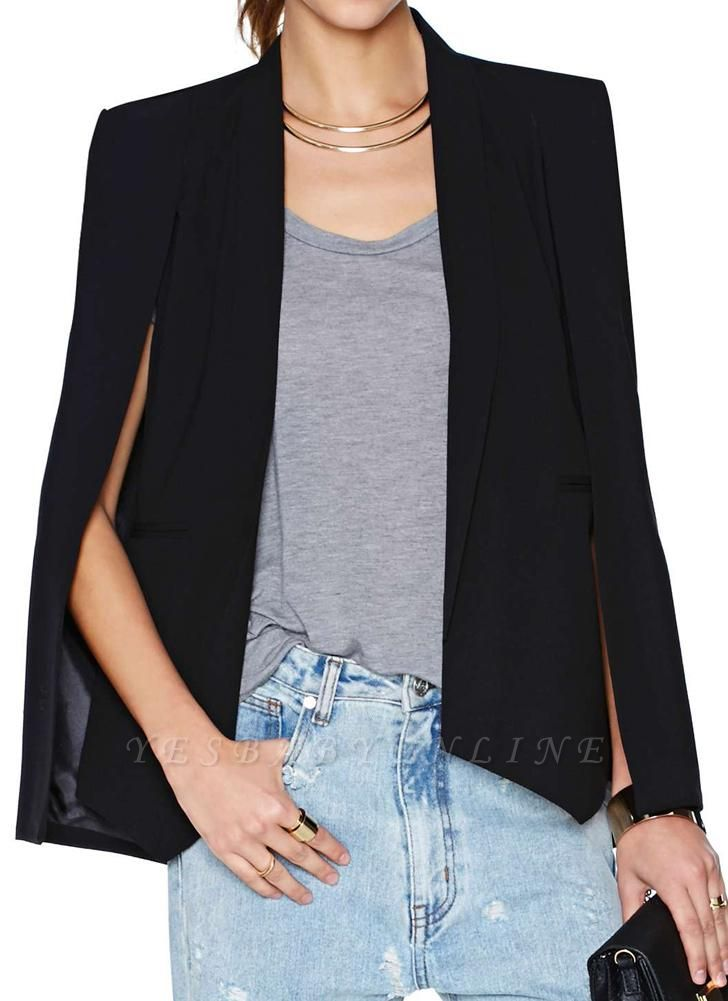 New Women Cape Blazer Lapel Split Pockets Casual Solid Cloak Coat Suit