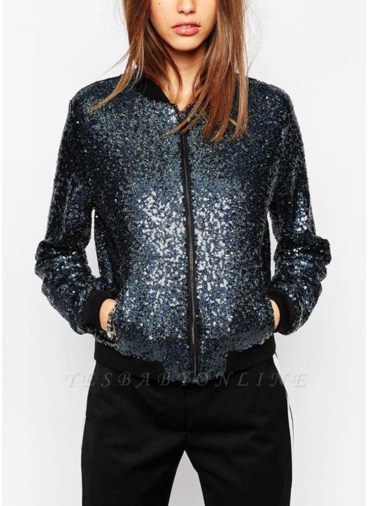 Women Sequin Coat Bomber Jacket Long Sleeve Zipper Streetwear Casual Loose Glitter Outerwear Blue