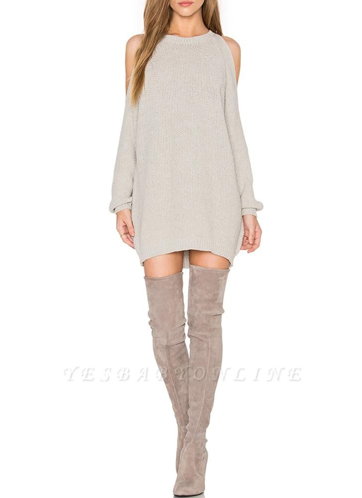 O-Neck Long Sleeve Tunic Women's Sweater Dress