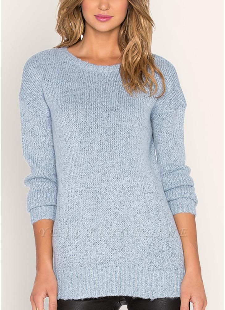 Knitted Sweaters Drop Shoulder O Neck Ribbed Knitting Women's Pullover