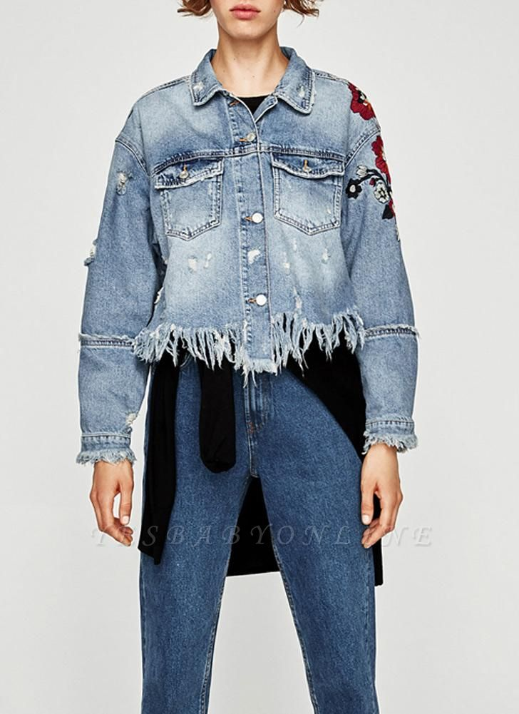Women Floral Embroidery Ripped Fringe Casual Denim Jacket