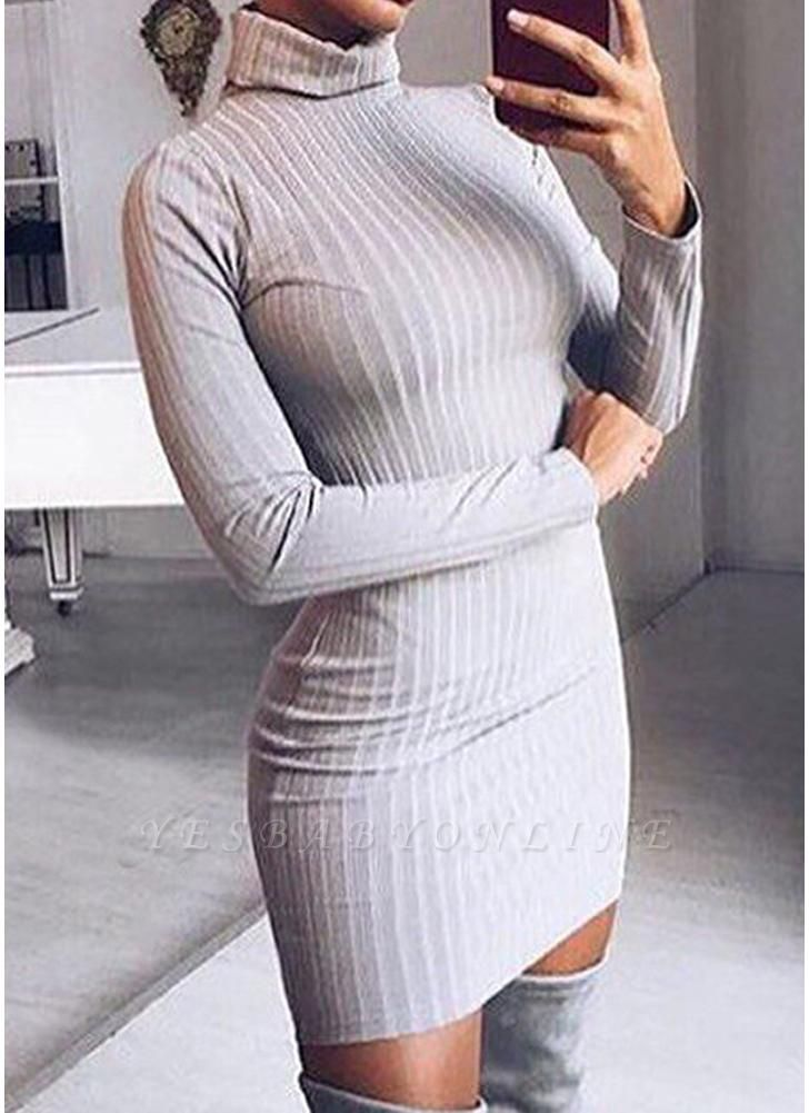 Women Knit Dress Mini Sweater Dress Turtleneck Long Sleeve Solid Bodycon Casual Party Pullover Pencil Dress