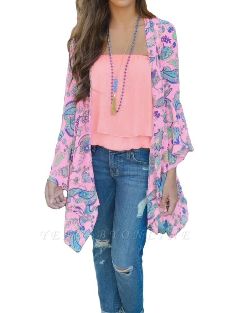 Bohemian Floral Print Chiffon Long Kimono Beach Cover Up