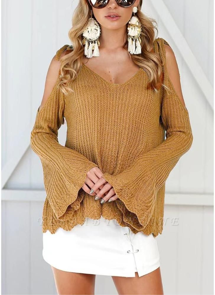 Women Knitted Sweater V Neck Cold Shoulder Flare Sleeve Spaghetti Straps Streetwear