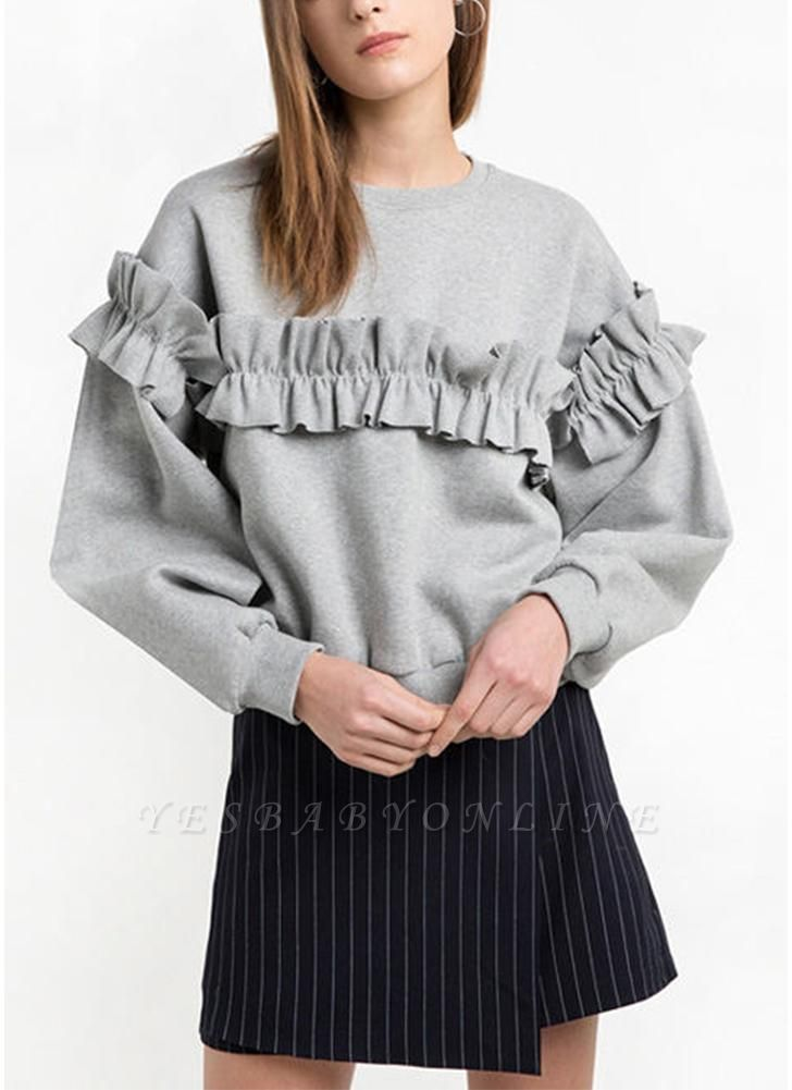 Women Loose Sweatshirt Solid Color Ruffle Round Neck Long Sleeve Casual Autumn Winter Fleece
