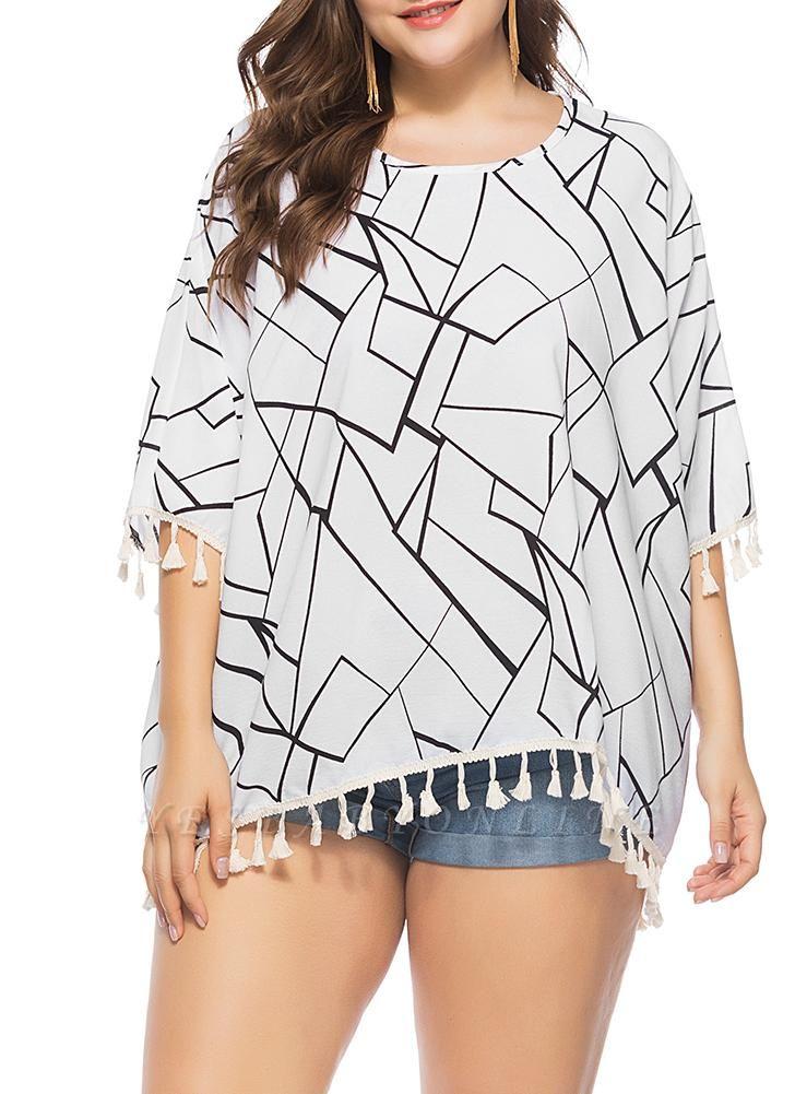 Women Plus Size Blouse Contrast Irregular Geometric Patterns Print Fringe Long Tops