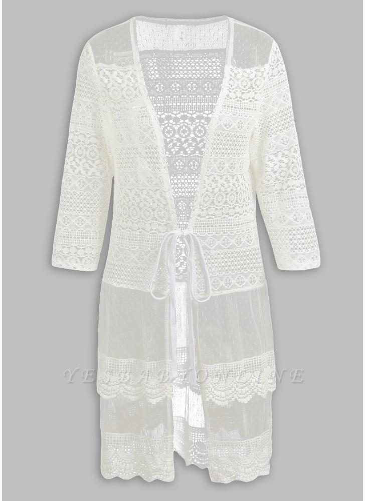 Women Boho Lace Long Cover Up Crochet Shawl Cardigan
