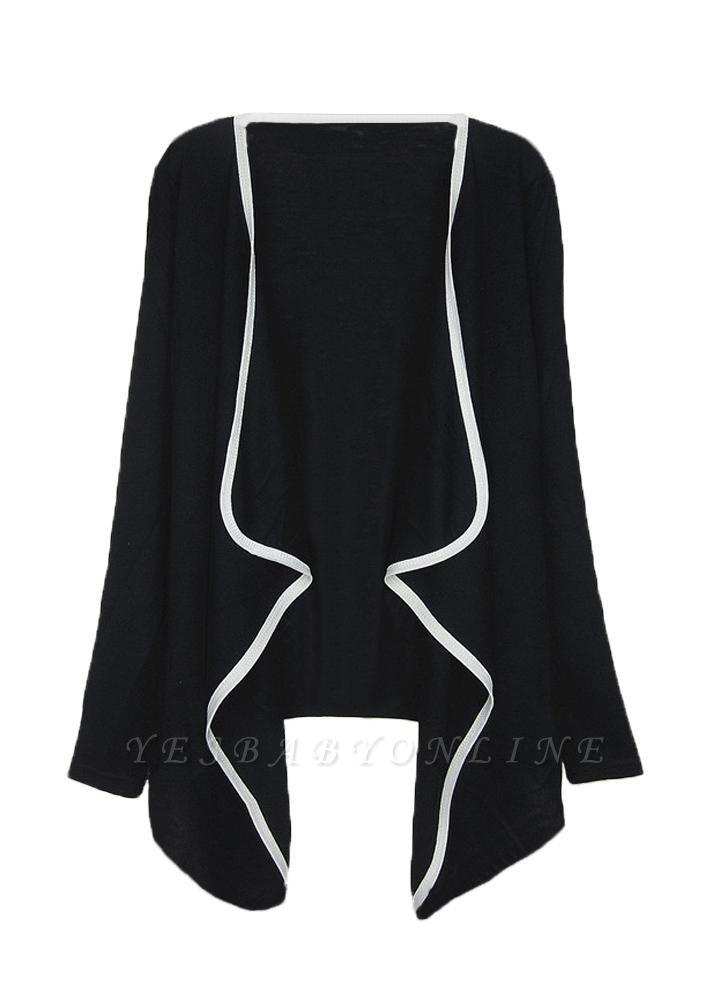 Fashion Contrast Asymmetric Long Sleeve Cape Cardigan