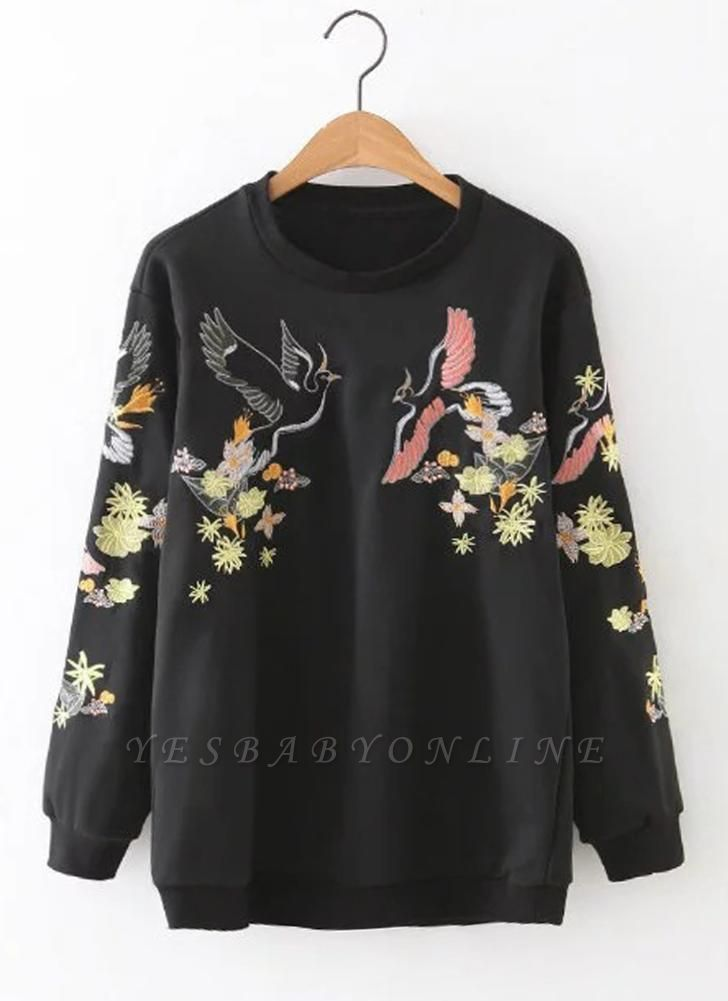 Women Sweatshirt Floral Bird Embroidery Long Sleeves O-Neck Casual Elegant Pullover Top