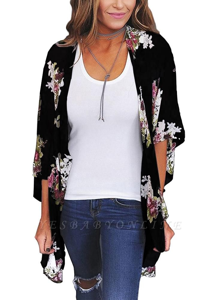 Women Floral Print Cardigan Open Front Maxi Coat Summer Boho Long Wear