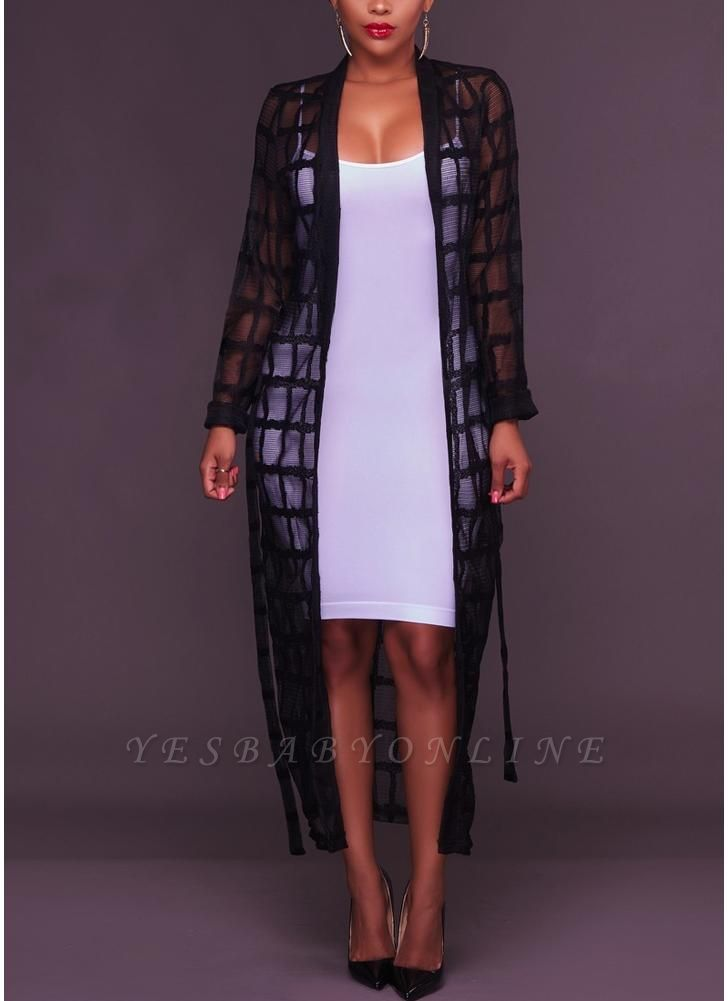 Sexy Women Mesh Maxi Crochet Lace Bandage Long Sleeves Long Cardigan