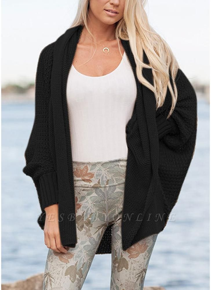 Women Loose Knitted Cardigan Bat Long Sleeves Casual Sweater Outerwear