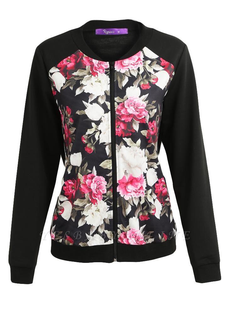 Fashion Women Floral Print Jacket Coat Zipper Long Sleeve Pocket Bomber Jacket