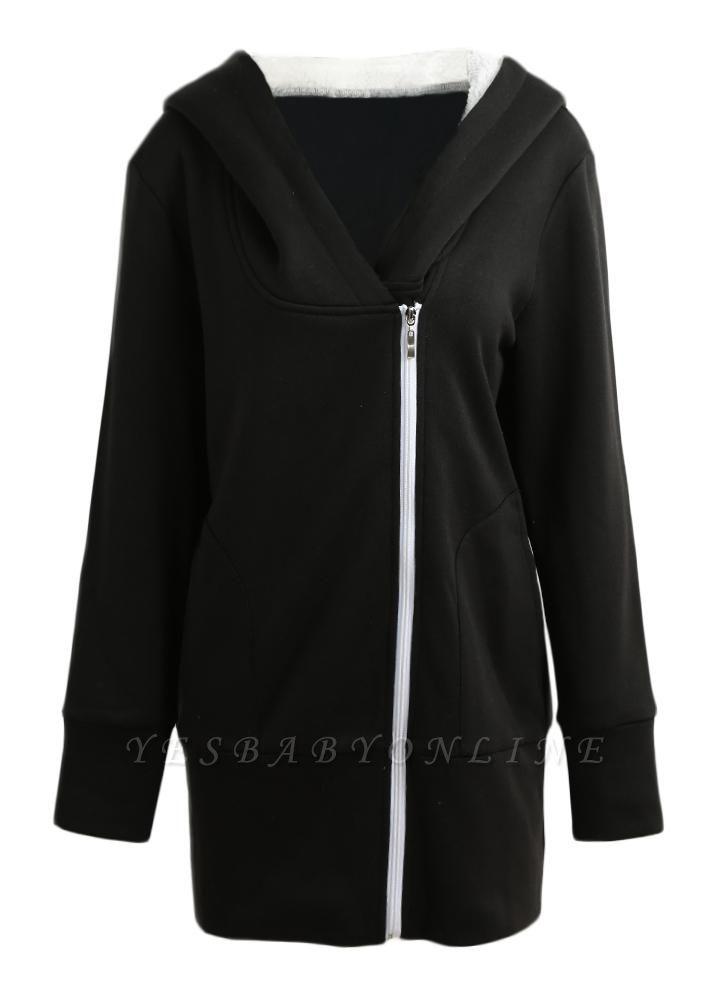 Women Autumn Winter Warm Coat Zipper Outerwear Hooded Sweatshirts