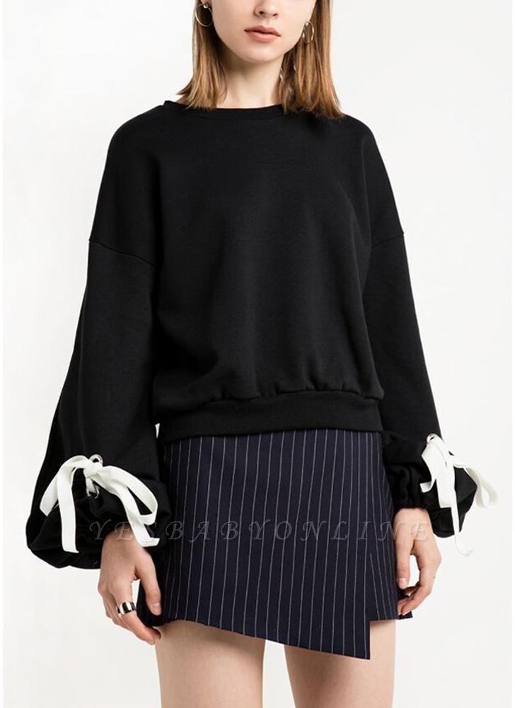 Women Loose Fleece Lace Up Bandage Cuff Round Neck Long Sleeve Casual Sweatershirt
