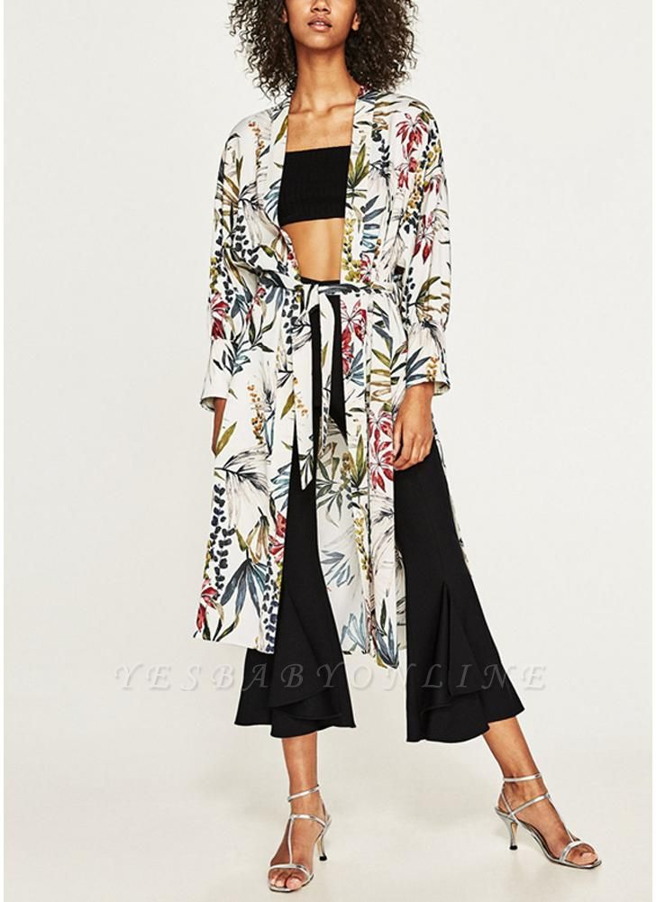 Women Flower Print Sash Kimono Shirt Retro Bandage Cardigan Blouse Top