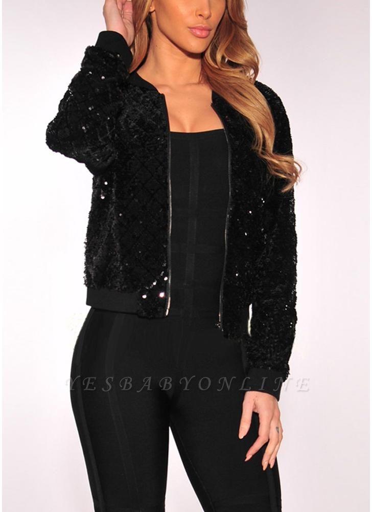 Women BlingBling Sequin Outwear Zipper Front Long Sleeve Bomber Jacket Basic Coat