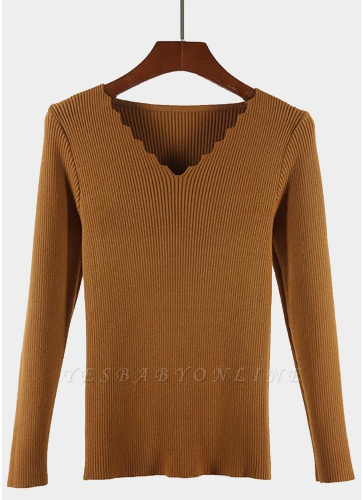 Fashion Women Basic Solid Knitted Pullover Sweater