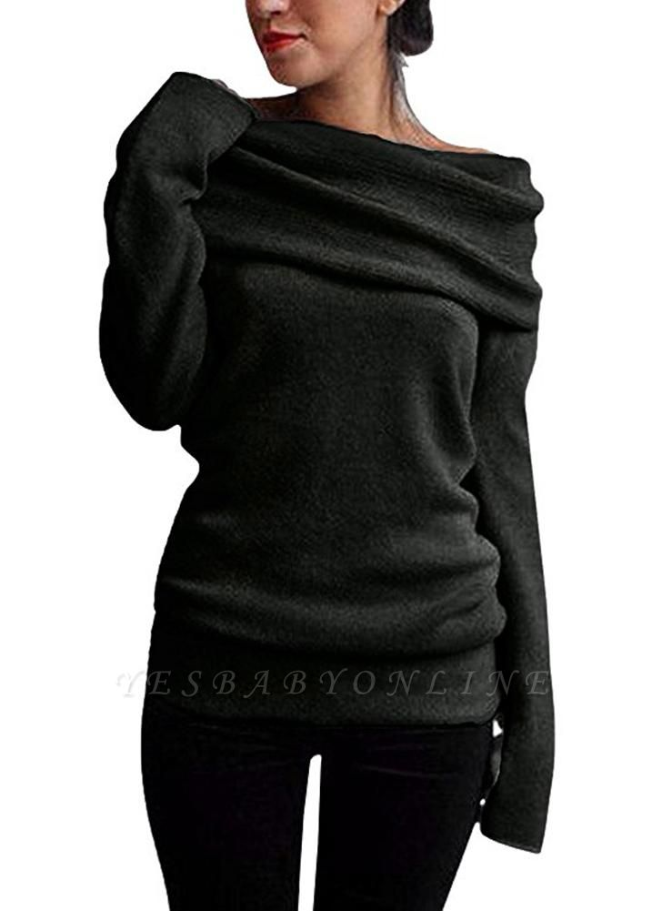 Women Off the Shoulder Sweater Wool Cowl Neck Long Sleeve Knitted Pullover