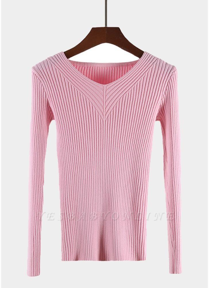 Fashion Women Basic Solid Elastic Knitwear