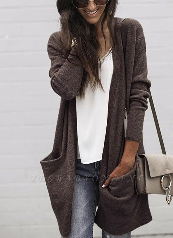 Fashion Women Loose Kitted Cardigan Sweater Front Pockets Long Sleeve Knitting Coat Outerwear