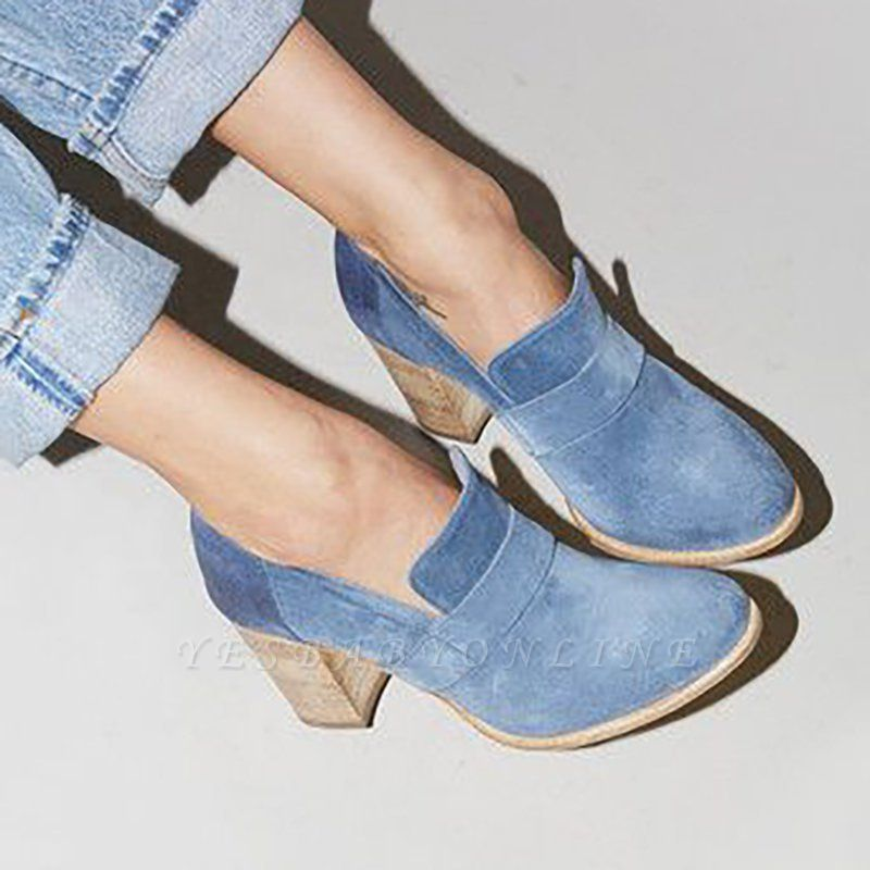 Casual Suede Chunky Heel Slip-On Boots