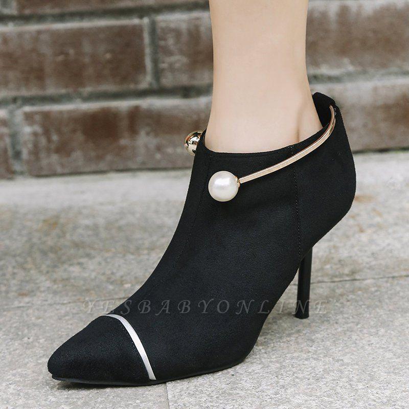 Zipper Date Stiletto Heel Elegant Pointed Toe Boots