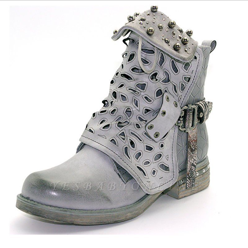 Hollow-out Daily Chunky Heel Round Toe Boots