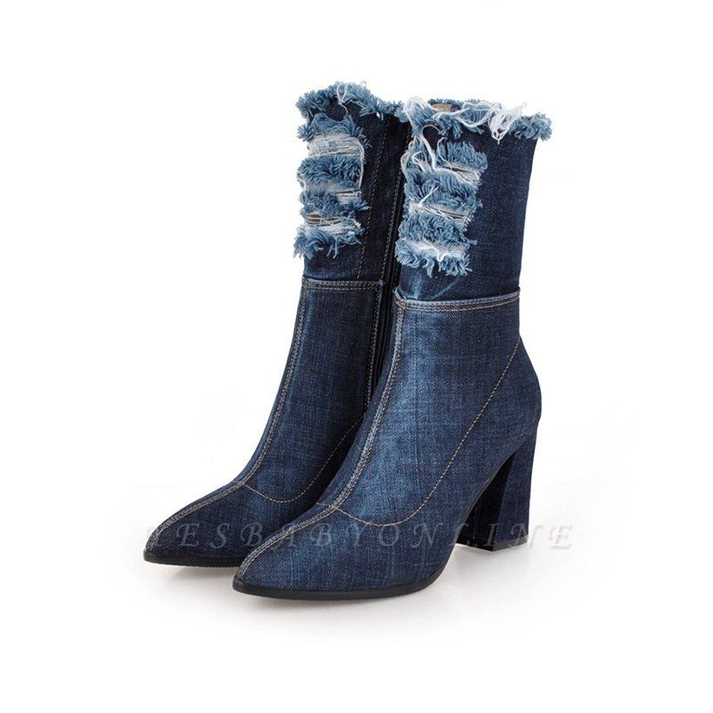 Denim Daily Zipper Chunky Heel Pointed Toe Boots
