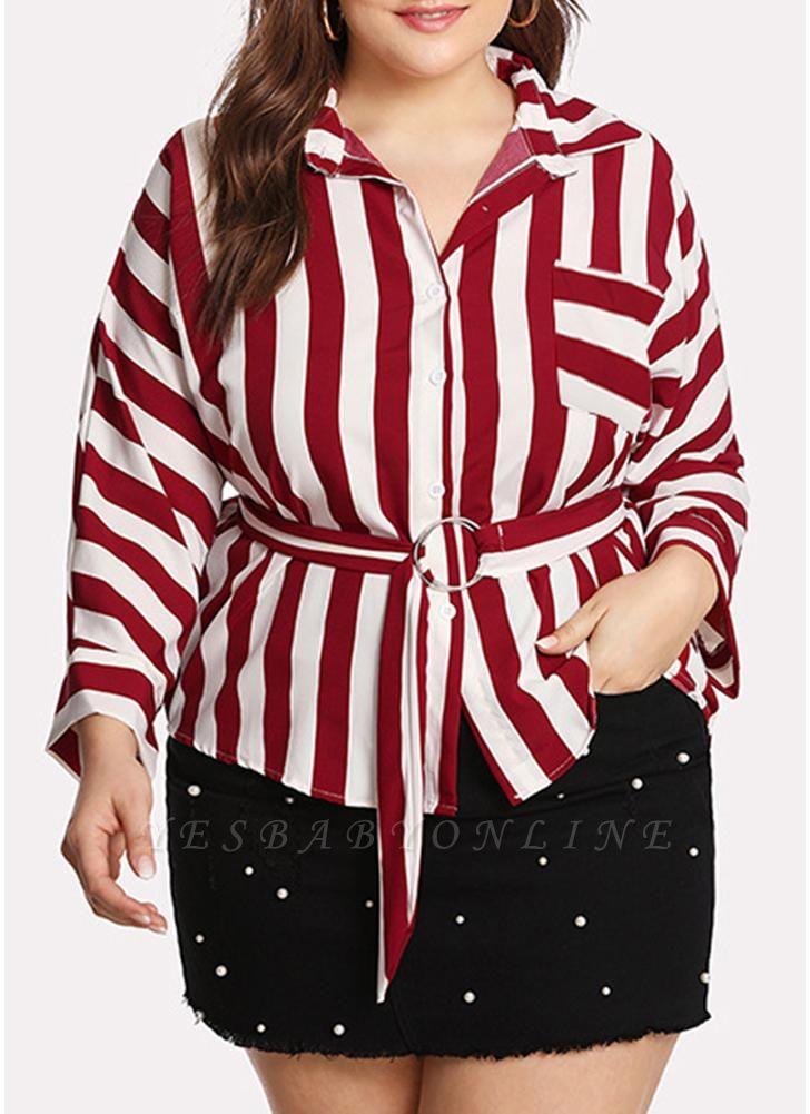 Striped Belt Button Front Long Sleeve Shirt