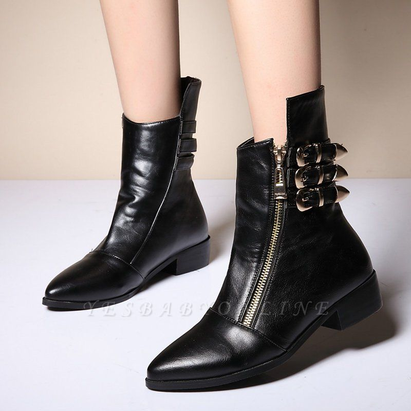PU Chunky Heel Zipper Pointed Toe Casual Boots