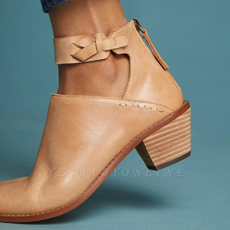 Women Chunky Heel Daily Zipper Round Toe Boots