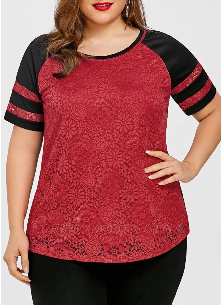 Women Plus Size Lace Basic T-Shirt Stripe Casual Tee Top