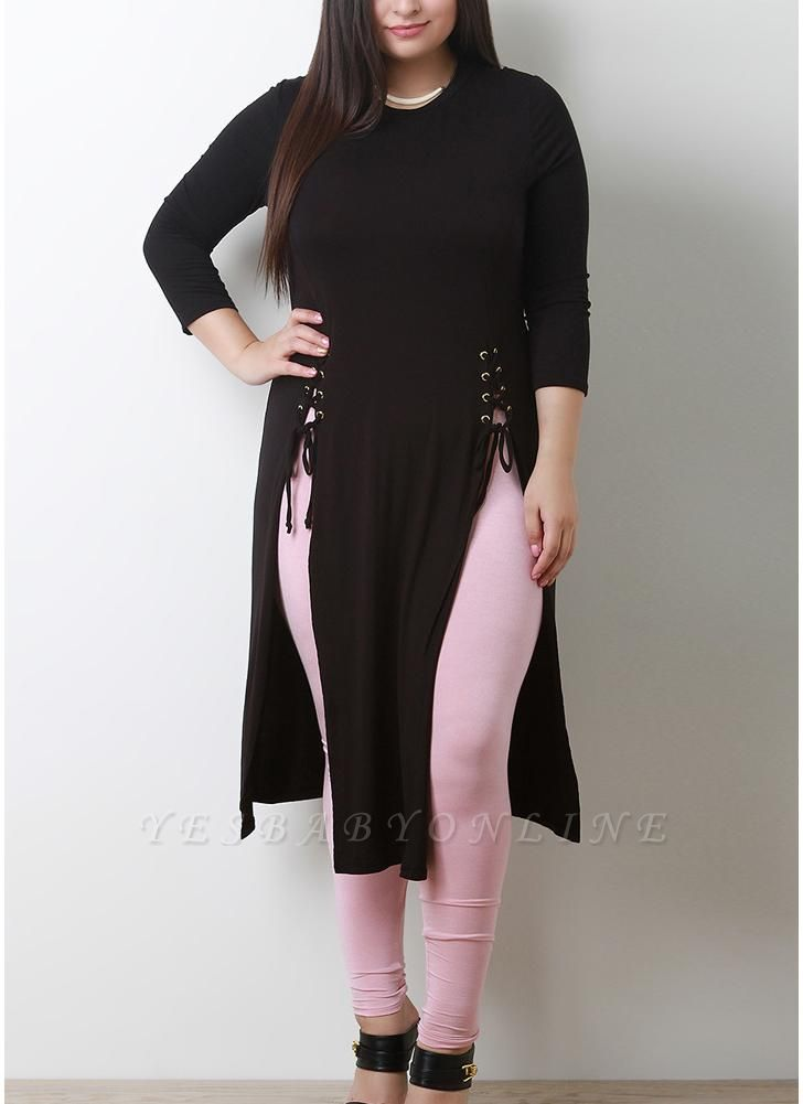 Women Plus Size Longline Tee Lace Up Side Slit