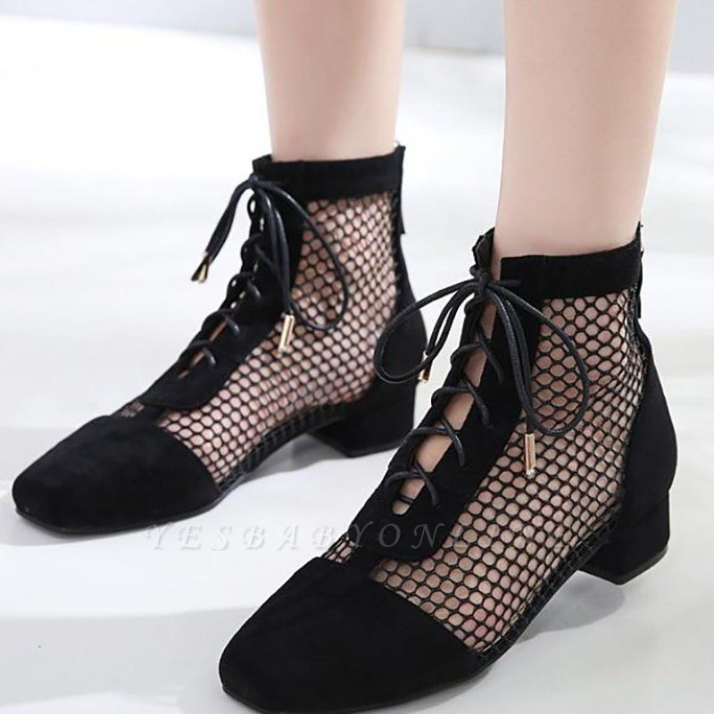 Mesh See Through Look Black Lace-up Summer Boots