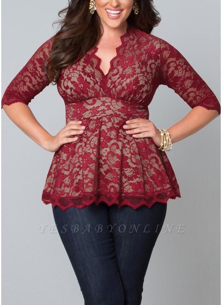 Plus Size 3/4 Sleeves Lace Blouse Top