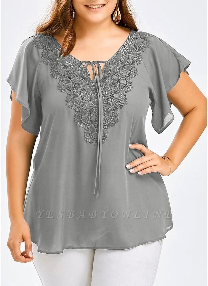Women Plus Size Solid Blouse V Neck Crochet Lace Shirt Top