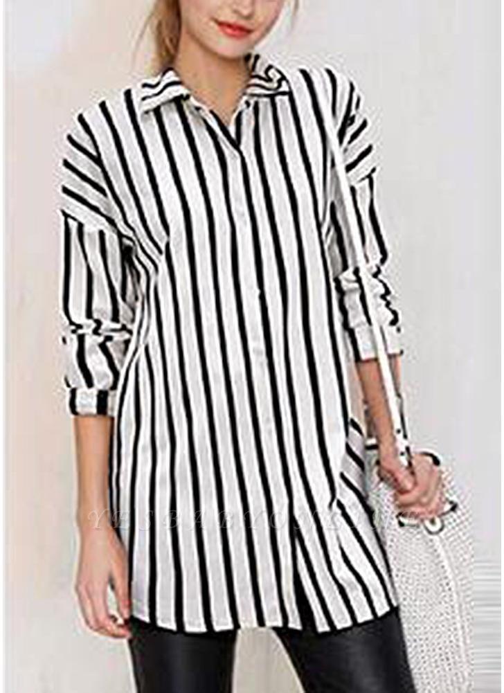 Striped Turn-down Collar Long Sleeve Long Shirt