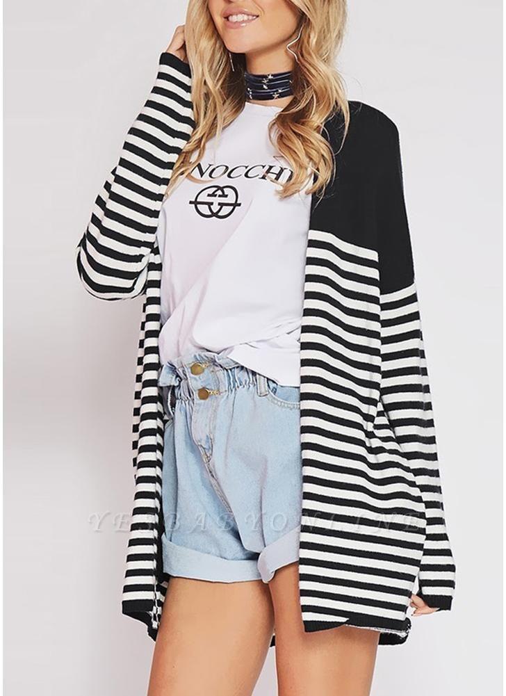 Women Cardigan Striped Long Sleeve Thin Outerwear Knitwear