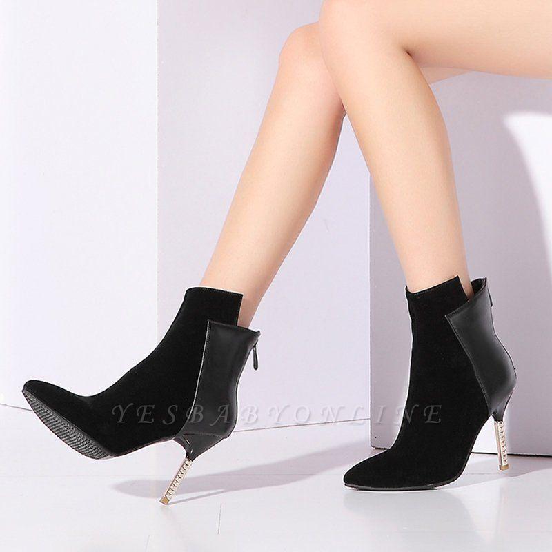 Zipper Pointed Toe Stiletto Heel Elegant Boots