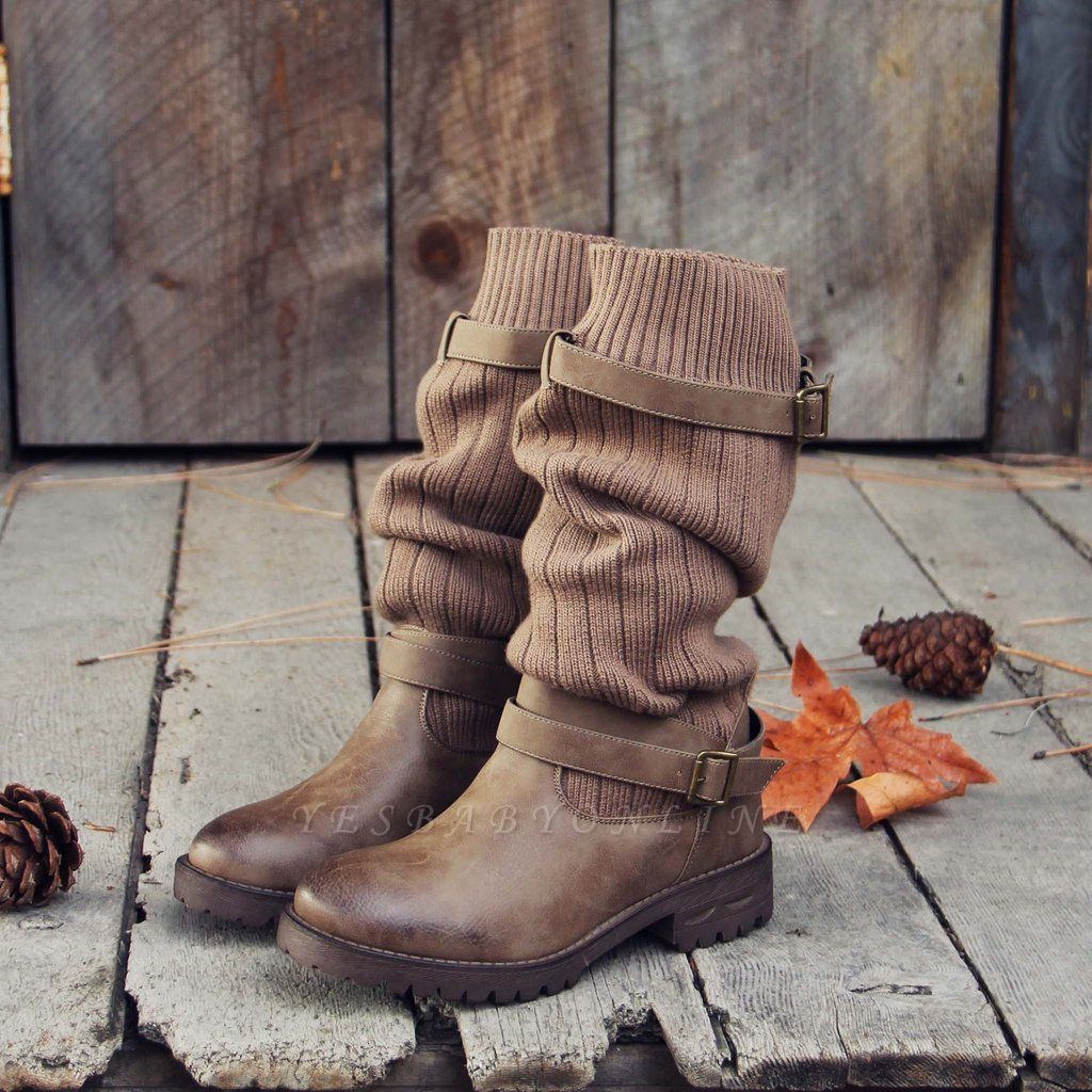 Comfy Cabin Sweater Boots Paneled Adjustable Buckle Boots