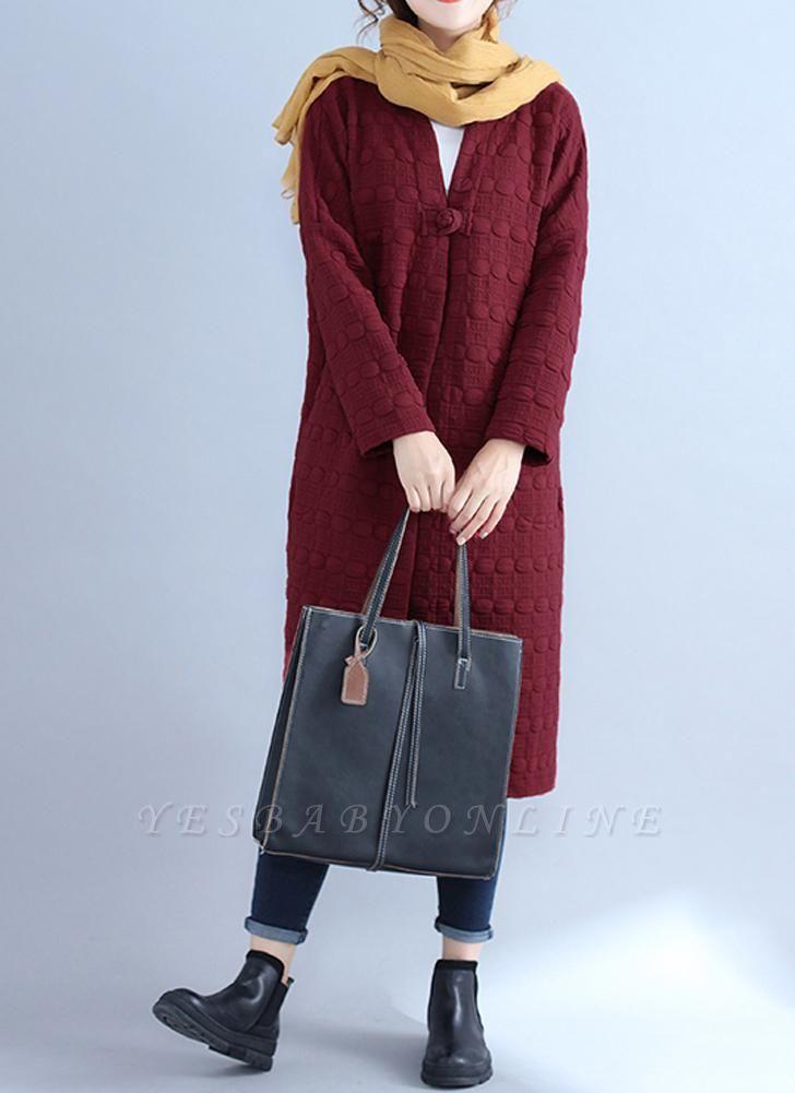 Winter Women V-Neck Long Coat Pockets Warm Jacket Cardigan Outerwear Overcoat