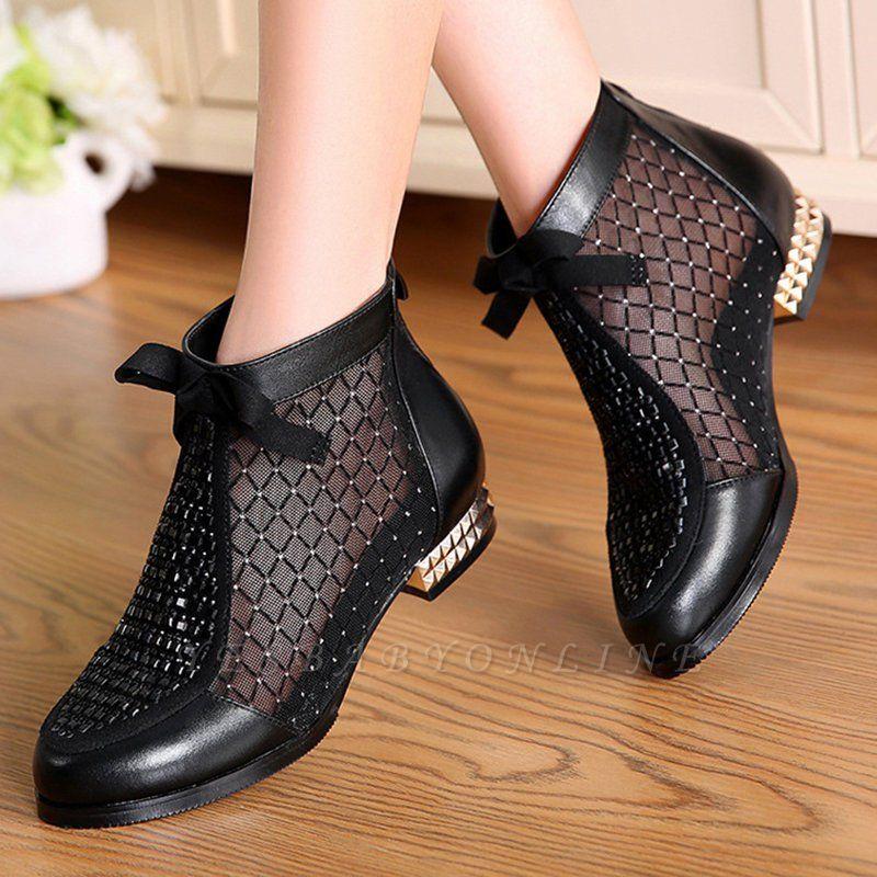 Black Chunky Heel Bowknot Casual Mesh Boots