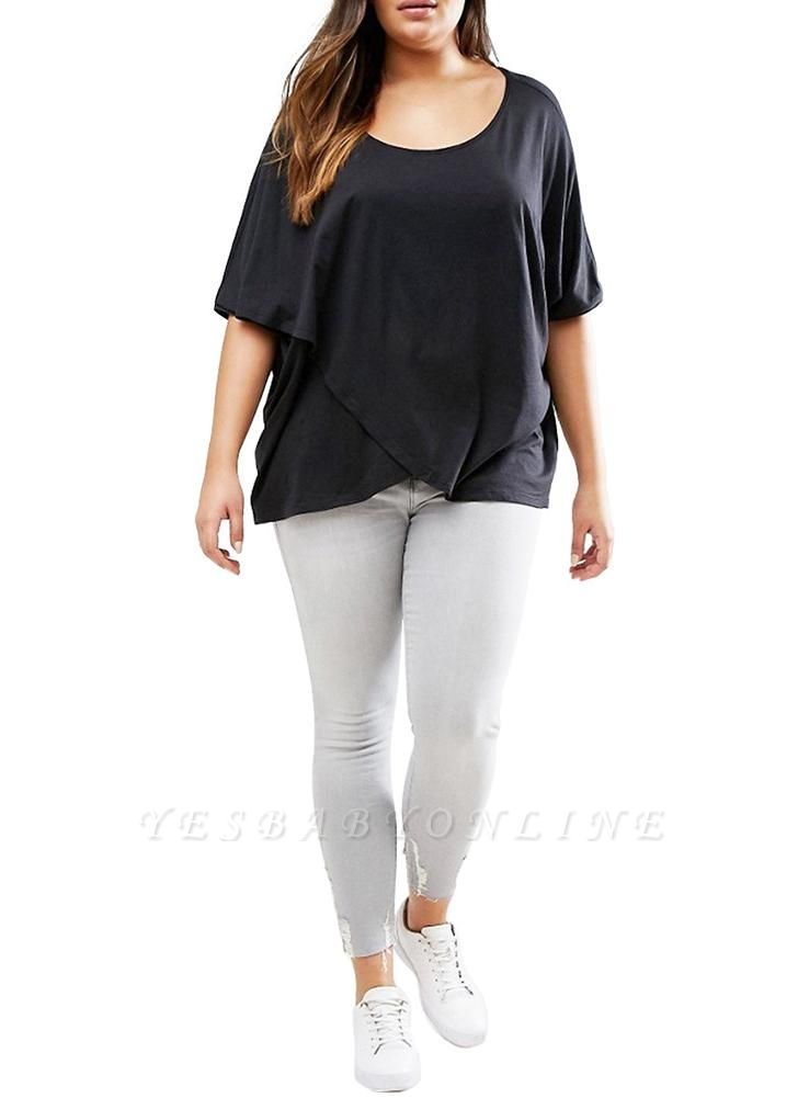 Plus Size Scoop Neck Short Sleeves Asymmetric Hem T-Shirt