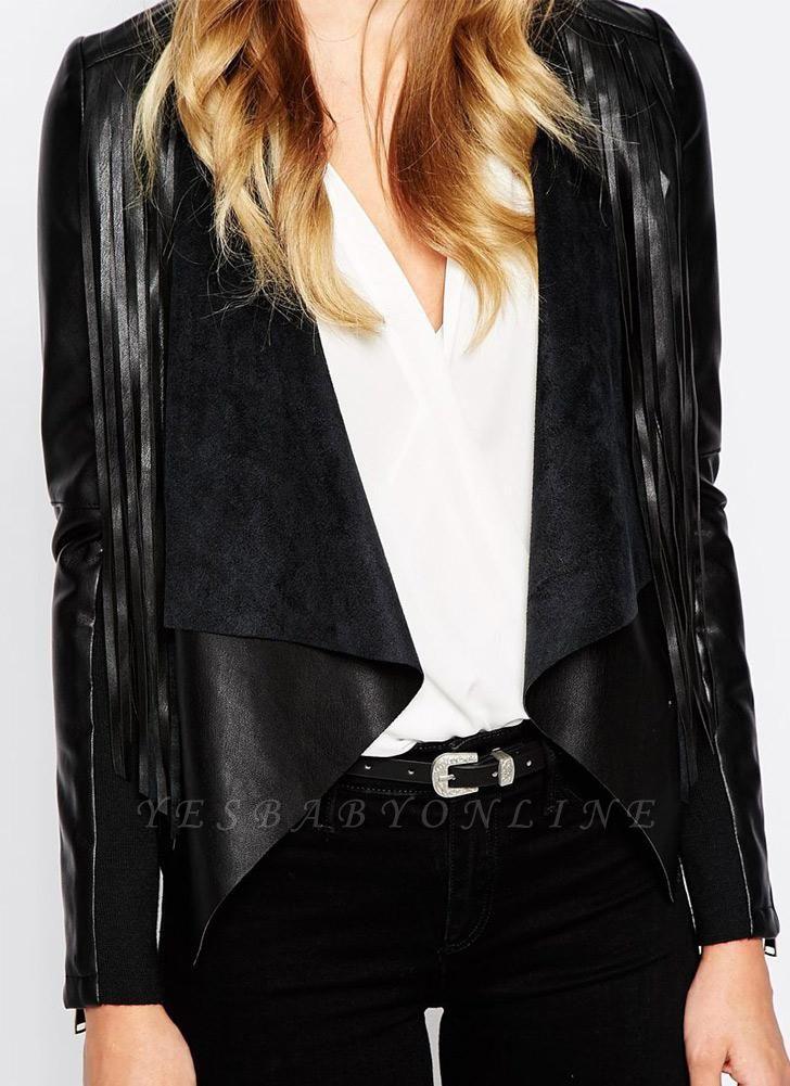 Women PU Leather Long Sleeve Tassel Fringe Jacket