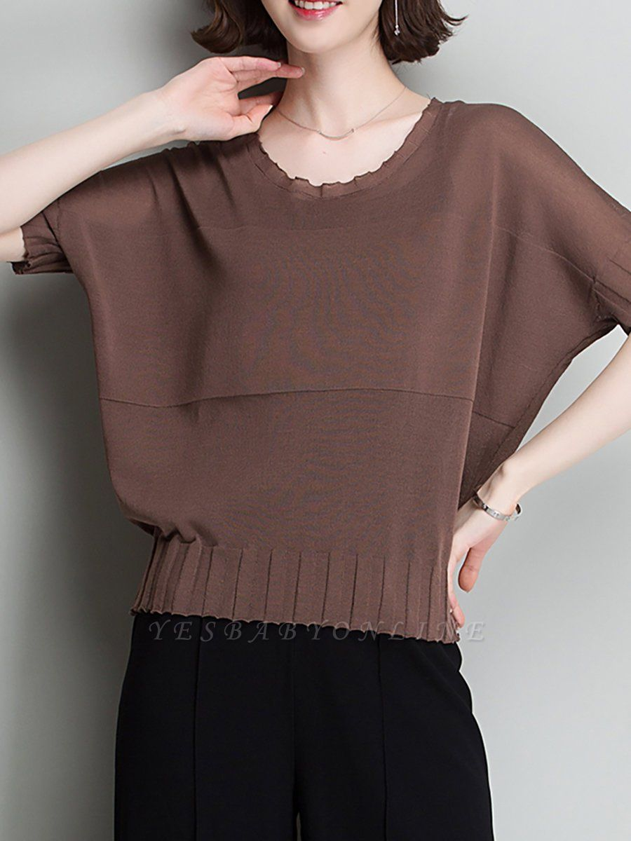 Shift Daytime Casual Ice Yarn Knitted Batwing Sweaters