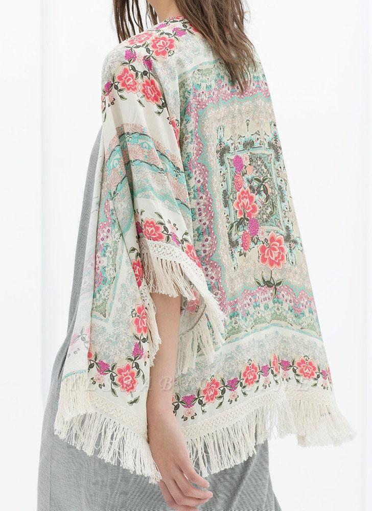 Boho Floral Print Fringe Shaw Chiffon Kimono