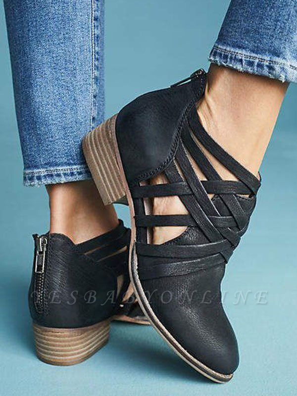 Low Heel Hollow-out PU Casual Zipper Boots